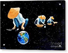 The Grass Is Always Greener On The Other Side Of Uranus Acrylic Print by Pauline Ross