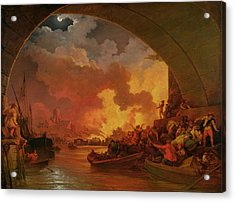 The Great Fire Of London Acrylic Print by Philip James de Loutherbourg
