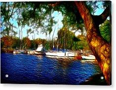 The Harbor Acrylic Print by Barry Jones