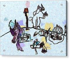 The Horses Picnic Acrylic Print by Odon Czintos