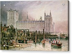 The Houses Of Parliament In Course Of Erection Acrylic Print by John Wilson Carmichael
