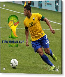 The Hulk Kicking Fifa 2014 Acrylic Print by Lee Dos Santos