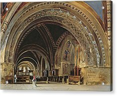 The Interior Of The Lower Basilica Of St. Francis Of Assisi Acrylic Print by Thomas Hartley Cromek