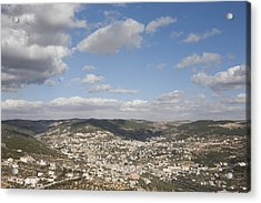 The Jordanian Countryside And The Town Acrylic Print by Taylor S. Kennedy