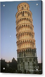 The Leaning Tower Of Pisa With Moon Acrylic Print