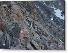 The Ledges On Longs Peak Acrylic Print by Cynthia Cox Cottam