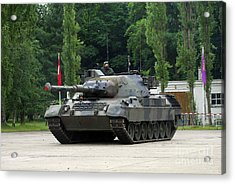 The Leopard 1a5 Mbt Of The Belgian Army Acrylic Print by Luc De Jaeger
