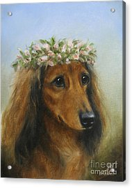 The Little Flower Girl Acrylic Print by Stella Violano