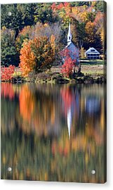 The Little White Church In Autumn Acrylic Print
