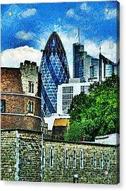 The London Gherkin  Acrylic Print by Steve Taylor