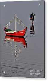 The Man And The Boat Acrylic Print by Armando Carlos Ferreira Palhau