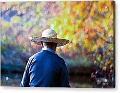 Acrylic Print featuring the photograph The Man In The Straw Hat by Ann Murphy