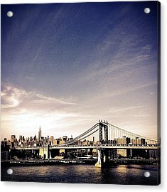 The Manhattan Bridge And New York City Skyline Acrylic Print