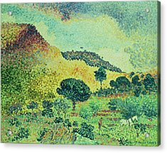 The Maures Mountains Acrylic Print by Henri-Edmond Cross