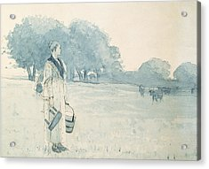The Milkmaid Acrylic Print by Winslow Homer