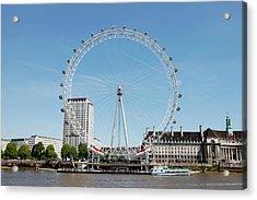 The Millennium Wheel And Thames Acrylic Print by Richard Newstead