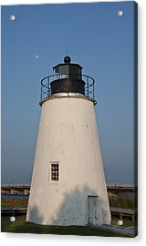 The Moon Behind The Piney Point Lighthouse Acrylic Print by Bill Cannon