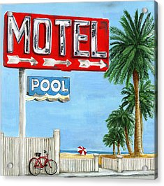 The Motel Sign Acrylic Print by Debbie Brown