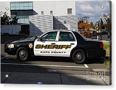 The Napa County Sheriff Car In Napa California Wine Country Acrylic Print by Wingsdomain Art and Photography