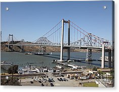 The New Alfred Zampa Memorial Bridge And The Old Carquinez Bridge . 5d16798 Acrylic Print by Wingsdomain Art and Photography