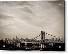 The New York City Skyline And The Manhattan Bridge Acrylic Print by Vivienne Gucwa