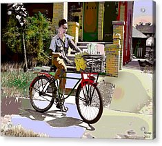 Acrylic Print featuring the mixed media The Newspaper Boy by Charles Shoup