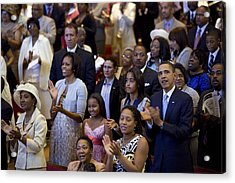 The Obama Family Attend An Easter Acrylic Print by Everett
