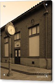 The Old Banker's Building - 5d18429 - Sepia Acrylic Print by Wingsdomain Art and Photography