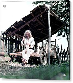 Acrylic Print featuring the photograph The Old Man Working On The Wooden Car by Emanuel Tanjala