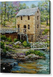 The Old Mill In Spring Acrylic Print