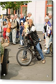 The Old Motorcycle And Man Acrylic Print by Odon Czintos