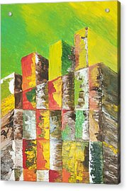The Old Stack Of Wood Acrylic Print by Roy Penny