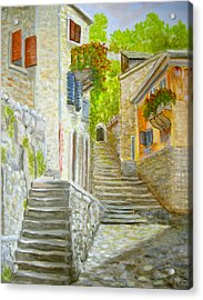 Acrylic Print featuring the painting The Old Town by Katalin Luczay