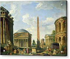 The Pantheon And Other Monuments 1735 Acrylic Print by Giovani Paolo Panini