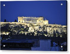 The Parthenon At Night Acrylic Print by MaryJane Armstrong