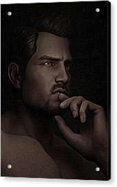 Acrylic Print featuring the digital art The Pensive Man - Cracked Colour by Maynard Ellis