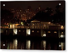 The Philadelphia Waterworks All Lit Up Acrylic Print by Bill Cannon