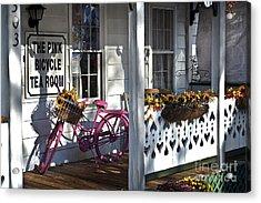 The Pink Bicycle Tea Room Acrylic Print by Jane Brack