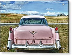 The Pink Cadillac Acrylic Print by Kathy Jennings