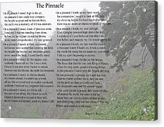 Acrylic Print featuring the photograph The Pinnacle by Tikvah's Hope