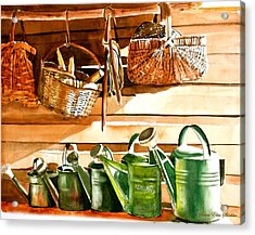 The Potting Shed Acrylic Print by Susan Elise Shiebler