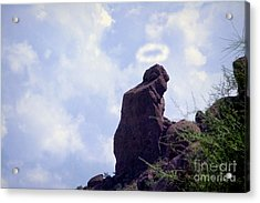 The Praying Monk With Halo - Camelback Mountain - Painted Acrylic Print by James BO  Insogna