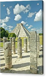 The Pyramid Of Kukulkan, (also Known As El Castillo), A Mayan Ruin, As Seen From The Thousand Columns (foreground), Chichen Itza, Mexico Acrylic Print by VisionsofAmerica/Joe Sohm