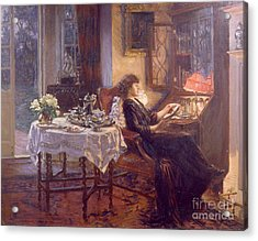 The Quiet Hour Acrylic Print by Albert Chevallier Tayler