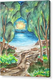 Acrylic Print featuring the painting The Quiet Ocean -wcs by Cheryl Pettigrew
