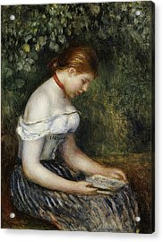 The Reader A Seated Young Girl  Acrylic Print by Pierre Auguste Renoir