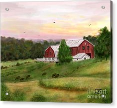 The Red Barn At Sunset Acrylic Print by Judy Filarecki