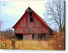 The Red Barn Acrylic Print by Robin Pross