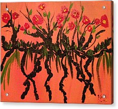 The Red Flowers By Sunset Acrylic Print by Pretchill Smith