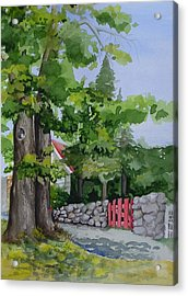 The Red Gate Acrylic Print by Judi Nyerges